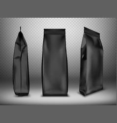 black blank plastic or foil pack realistic vector image