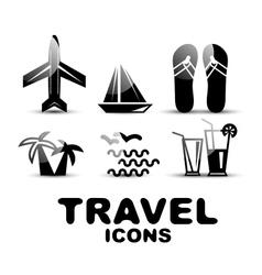 Black glossy travel icon set vector image
