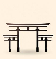 Black silhouette shinto torii gate icon vector