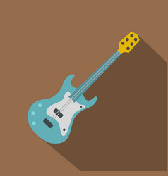 blue electric guitar icon flat style vector image