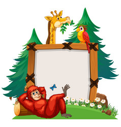 Board template with cute animals in zoo vector