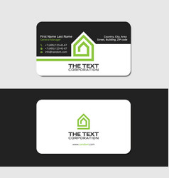 Business card template mansion green color vector