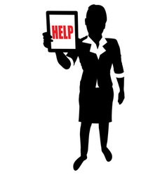 business lady tablet help vector image