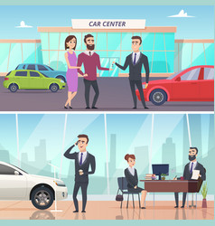 buying car sell and rent auto in car exhibition vector image
