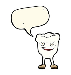 Cartoon happy tooth character with speech bubble vector