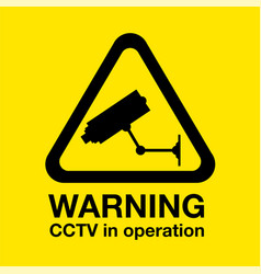 cctv warning sign vector image