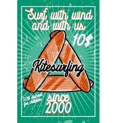 Color vintage kitesurfing banner vector