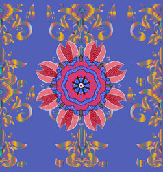 Colored mandalas element blue pink and neutral vector