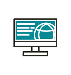 computer world web development icon line and fill vector image