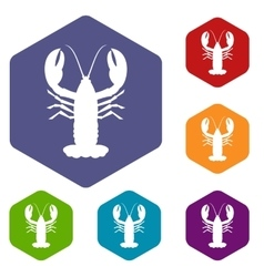 Crayfish icons set vector