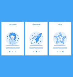 Creative woman desire for a dream goal outline vector