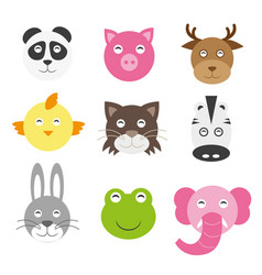 cute cartoon animals head round shape in flat vector image