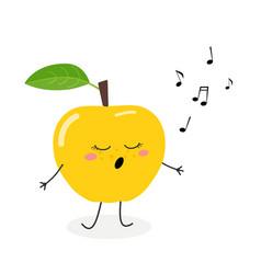 cute cartoon apple singer vector image