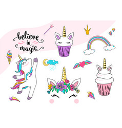 cute unicorn with cupcake dancing little vector image