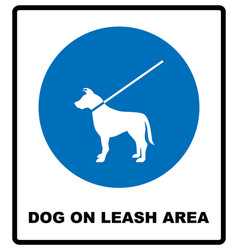 Dog on leash area icon dogs allowed sign vector