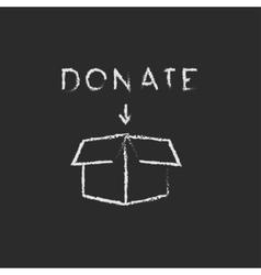 Donation box icon drawn in chalk vector