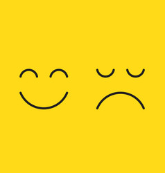 faces with happy smile and sad unhappy smiley on vector image