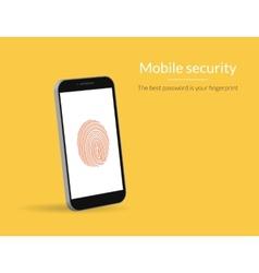 Fingerprint scanning on smartphone vector image