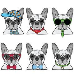 French bulldog set 6 icons vector