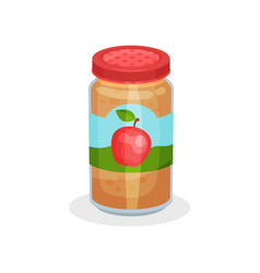 Glass jar of delicious apple puree healthy meal vector