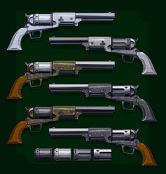 Graphic detailed old revolvers big set vector