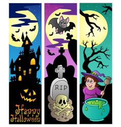Halloween banners set 6 vector