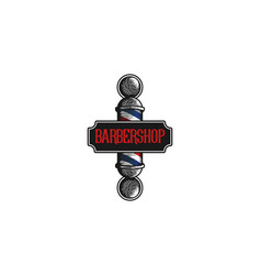 hand drawn barber pole vintage logo designs vector image