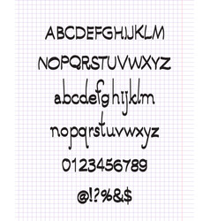 hand drawn font with brush letters and numbers vector image