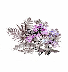Hand drawn painting with colorful flowers and vector