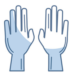 Hands human raised icon vector