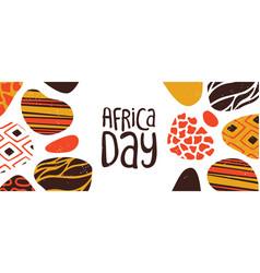 Happy africa day banner tribal african art vector