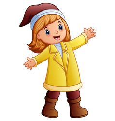 happy girl in yellow winter clothes vector image