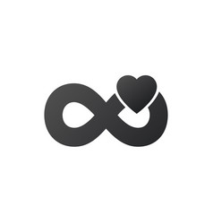 Infinity sign with heart logotype modern romantic vector