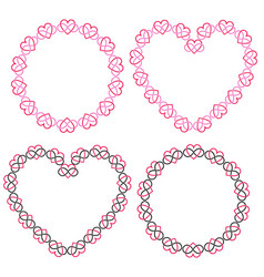 Interlocking heart frames clipart vector