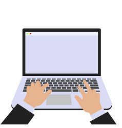 isolated laptop background with hands vector image
