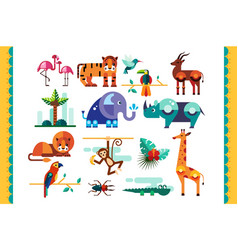 Jungle animals birds and plants set summer vector