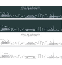 Kabul single line skyline banner vector