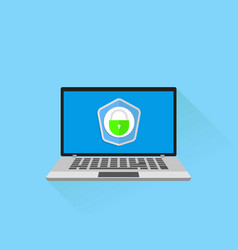 laptop with shield and lock on table vector image