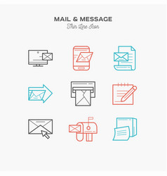 mail message and more thin line color icons set vector image