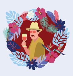 man relaxing with wine glass in tropical beach vector image