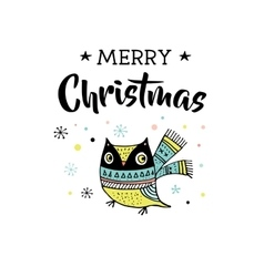 Merry Christmas greeting cards with owl vector