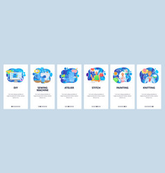 mobile app onboarding screens sewing machine vector image