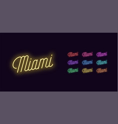 Neon lettering miami name neon glowing text vector