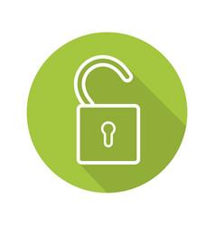 Open lock flat linear long shadow icon vector