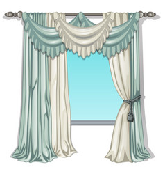 Ornate curtain in interior vector