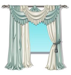 Ornate curtain in the interior vector