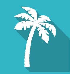 Palm tree icon with long shadow vector