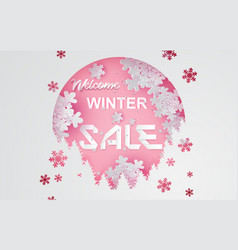 paper art and craft of winter sale with snowpink vector image