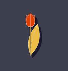 Paper sticker on stylish background plant tulipa vector