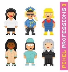 pixel art style professions set 3 vector image